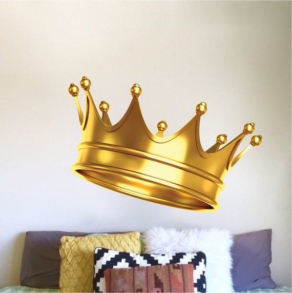 Gold Crown Wall Decal Royal wall Vinyl Mural Removable King