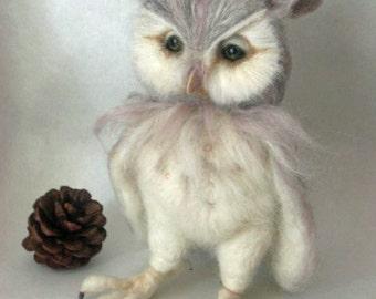 Made to Order - Needle Felted Pearl Renaissance Owl OOAK handmade whimsical wildlife fantasy  sculpture ornament  Bird figurine