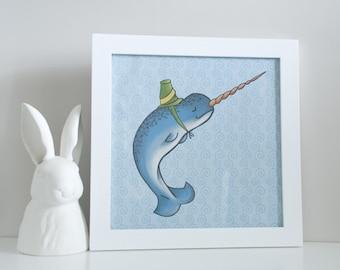 Digital Art Print - Narwhal - Sea Animal - 12 x 12