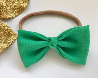 Kelly Green Knotted Bow Headband