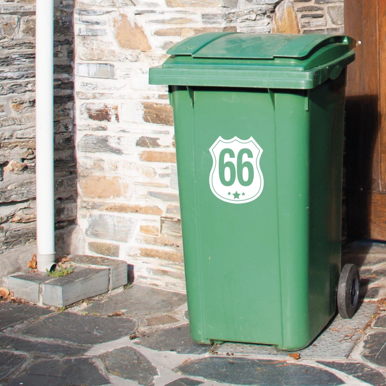 Route 66 Wheelie Bin Vinyl Decals Stickers Any Colour Set Of