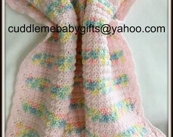 Crochet Blanket-Crochet Baby Blanket-Crochet Baby-Pink Crochet Blanketochet Baby Girl Blanket-Baby Shower gift-Keepsake Baby Gift-Crochet
