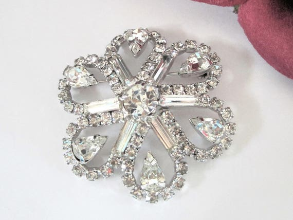 Clear Rhinestone Brooch, Multi Layered Brooch,  Large Silver Tone, Flower Pin