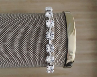 Mini Crystal + Silver Handmade Swarovski Crystal Bracelet, Silver Bracelet, Tennis Bracelet, Wedding Jewelry, Bridal Jewelry, Bride to be