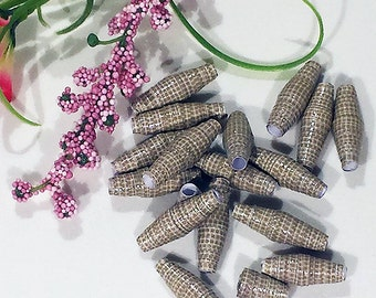 """Hand-rolled 1"""" paper beads - Khaki Scales 1 - set of 16"""