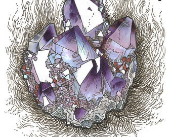 Amethyst crystal digital print, ink and marker illustration