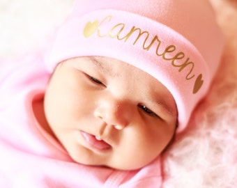Pink personalized newborn hat girl coming home outfit name hat hair accessories infant clothing  photo props