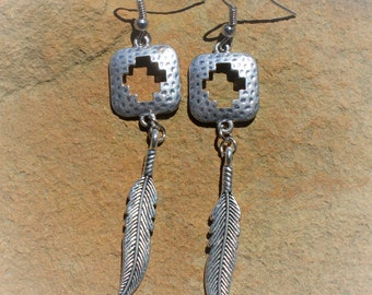 Silver Tone Feather Earrings