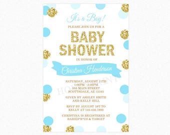 Blue and Gold Polka Dot Baby Shower Invitation, It's a Boy, Gold Glitter, Personalized, Printable and Printed