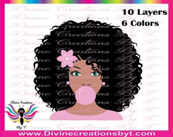 Ms Pink-Women Blowing A Bubble- afro girl blowing a bubble(SVG,DXF,EPS and Silhouette Studio v3 ) Made by me-