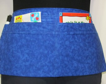Waist Apron for Teachers, Vendors, Servers, Crafters, Gardeners with Mottled Midnight Blue Print (3 Pockets)