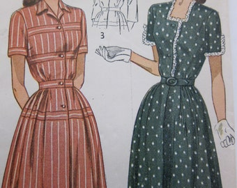 40s Simplicity 2398 Dress Sewing Pattern - 1940s Vintage Day Dress Pattern - Complete Uncut - Bust 38