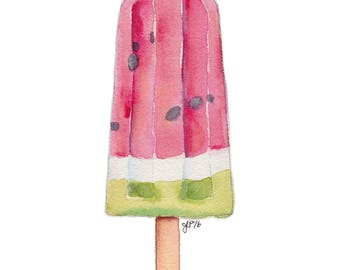 Watermelon Popsicle Art - Watermelon Popsicle Still Life Art Print - Pop Art - Red and Green Watercolor Art, 8x10 Print