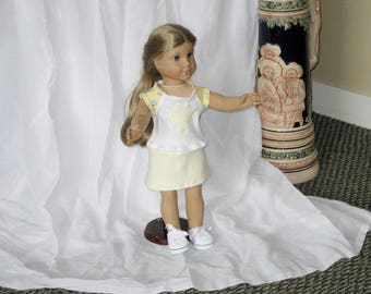 """Summer Doll Clothes, 18"""" doll clothes fits American Girl, Yellow and White Skort, Short and  AppliquedTee, Gifts and Playthings for Girls,"""