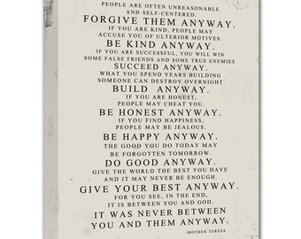Do it anyway etsy gift ideas mother teresa do it anyway distressed worn look stock art canvas geezees altavistaventures Gallery