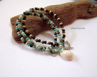Trio of bracelets turquoise glass, wooden beads and charms