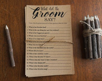 What Did the Groom Say About His Bride Game . Printable Instant Download Game . Rustic, Kraft, Funny, Fun, Country Bridal Shower Game