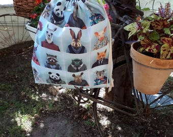 Backpack HIPSTER. Backpack with print of animals. Very original. String backpack. Unisex backpack