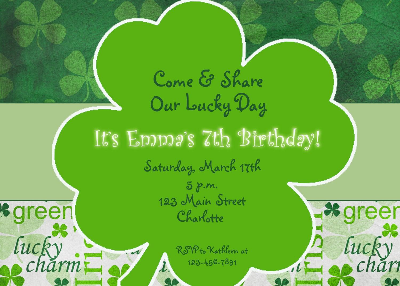 St. Patricks Day party birthday invitation St. Patricks Day