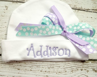 Personalized girls Infant Hat with name and bow in lavender, teal blue, baby girls newborn beanie, personalized newborn beanie, girls beanie