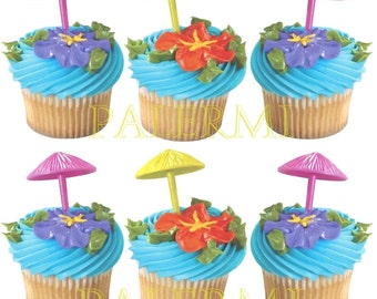 Pool Party Cupcake Toppers, Summer Cupcake Toppers