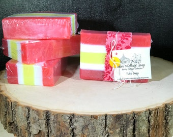 Tulip soap, glycerin soap, handmade natural soap, homemade vegan soap, detergent free, hemp soap, gift soap bars, handcrafted soap