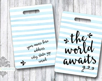 Luggage Tag | Personalized Bag/Luggage Tag | Kids Backpack Tag | Diaper Bag Tag | Custom Bag Tag | Travel Accessory | The World Awaits