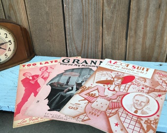 Vintage Sheet Music - A Zoot Suit - Granny - Too Late Now - Piano Music - Sheet Music Collection - Music Gift