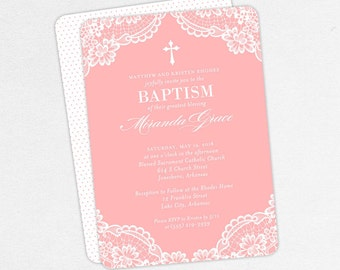 Baptism Invitation, Christening Invitation, Girl Baptism, Printable Baptism Invitation, PDF, Lace, Burlap, Rustic, Cross, DIY, Pink, Miranda