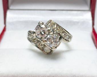 Antique Diamond Engagement Ring l 14KT White Gold Diamond Ring l STUNNING Cocktail Ring, Wedding Ring, Wedding Jewelry