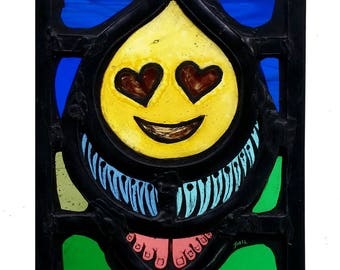 Stained Glass window, Emoji, Leaded, Ready to Hang, 95x138mm (3.75x5.4 inch), Hand painted, Smiley, kaomoji, Emoticon, Love