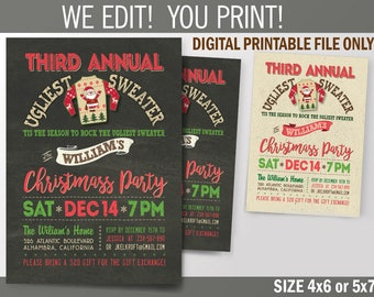 Annual Christmas Party, Family Ugly Sweater Party, Digital File