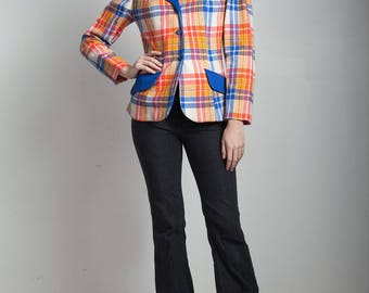 plaid blazer jacket top red orange blue tartan vintage 70s MEDIUM M