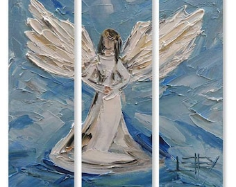"""Angel Art, Angel Painting, 36"""", Large Wall Canvas Art, MADE TO ORDER, Christian Art, Religious Art, Angel Artwork, Angels, Angelic,Christian"""
