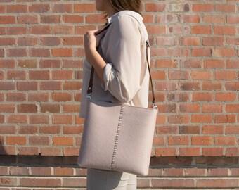 Felt small CROSSBODY BAG with leather strap / crossbody purse / small shoulder bag / felt bag / wool felt / made in Italy