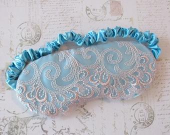 Pastel Lingerie Sleep Mask in Aqua, Peach // Lace & Satin Eye Mask
