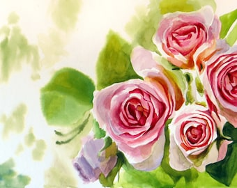 Roses 5  Original painting made by hand with watercolors