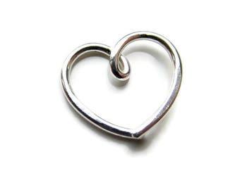 Clearance SALE Silver Daith Heart Earring, Choose 16Gauge or 20Gauge, Single ( 1 ) One