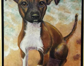 Custom Pet Portrait-Original Custom Painted Pet Portrait on 18 x 24 canvas,  FRAMED , and  Ready to Hang- pet art
