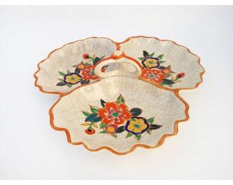 1940s Serving Plate - Orange Floral Serving Plate - Made in Japan