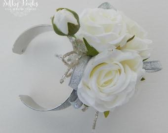 Silver corsage etsy white silver wrist corsage rose corsage wedding corsage silk wedding flowers white corsages wedding flowers corsage for prom mightylinksfo