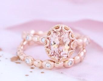 Oval Morganite Engagement Ring Bridal Set in 14k Rose Gold Floral Ring, 9x7mm Pink Peach Morganite Ring and Pebble Diamond Wedding Band Set