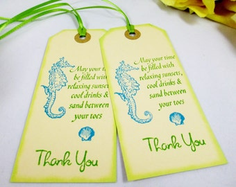 10 Aqua Blue Beach Wedding Favor Tag -  Destination Wedding Tags - Welcome Bag Gift Tag - Thank You Tag - Bridal Shower Tag - Bag Tags