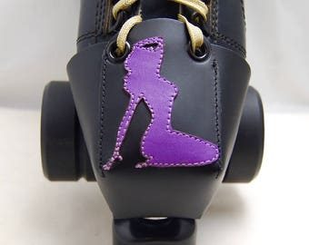 Leather Toe Guards with Purple Pin-Up Girls