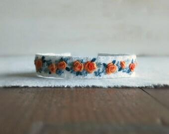 Floral Cuff Bracelet - Orange Peach and Teal Floral Embroidered Bracelet