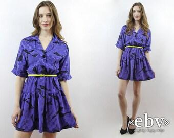 Purple Secretary Dress 1980s Dress 80s Dress 80s Mini Dress Graphic Print Dress Purple Dress Day Dress Summer Dress Work Dress S M