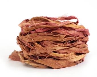 Handdyed recycled sari silk ribbon, 10metres Merlot, burgundy red burnished gold textile arts, rustic upcycled fabric offcuts, uk seller