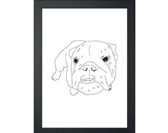 Bulldog 8.5x11 Art Print, Wall Decor, Wall art, Funny Dog Art, Drawing Prints