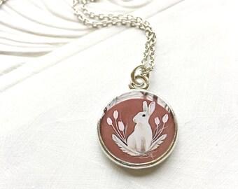 Silver BUNNY NECKLACE, Sweet Springtime Jewelry, Spring Easter Bunny Jewelry, Rabbit Jewelry