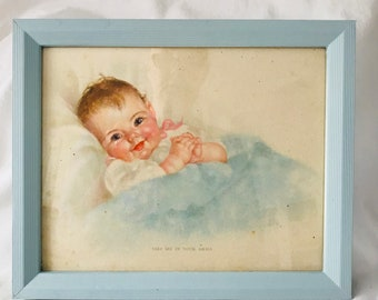 Antique Beautiful Baby Picture Take me in your arms lithograph frame with glass blue frame farmhouse collectible wall decor wall art Pastels